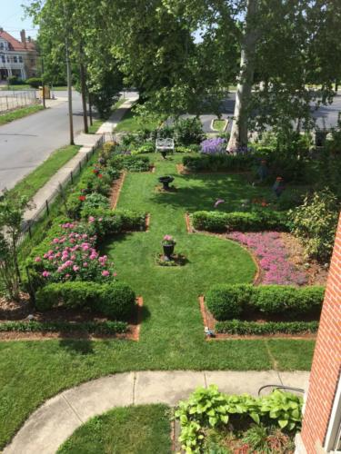 """An aerial view of the formal """"rooms"""" in spring."""