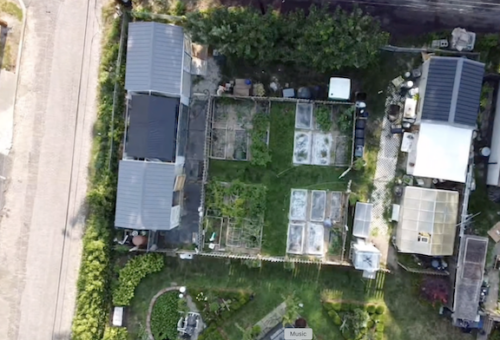 Potager, Livestock and Compost, and Bioreactor from the air.